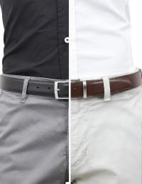 Cintura double face da uomo marrone e nera