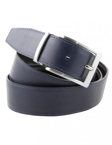 Cintura double face uomo blu e nera da 3,5 cm