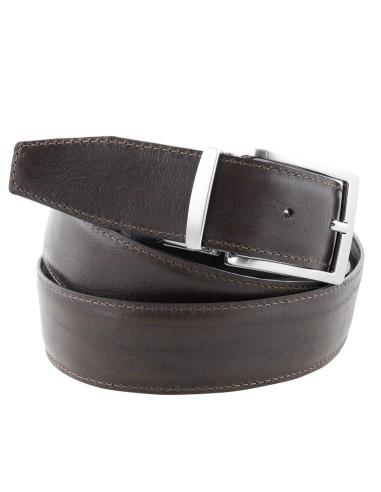 Cintura double face uomo marrone e nera da 3,5 cm