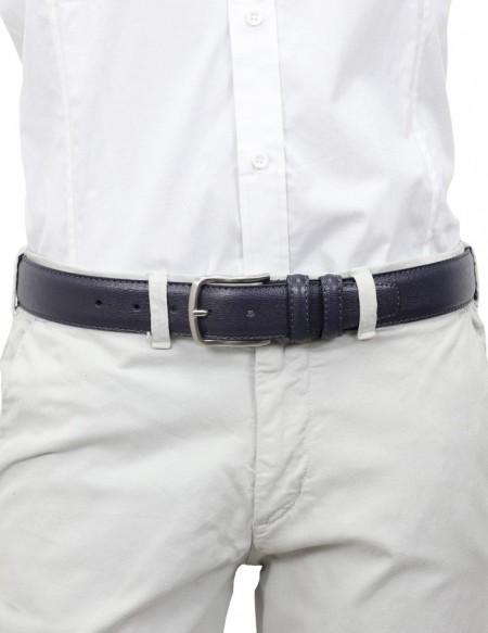 Cintura in pelle saffiano blu modello Prada da sposo