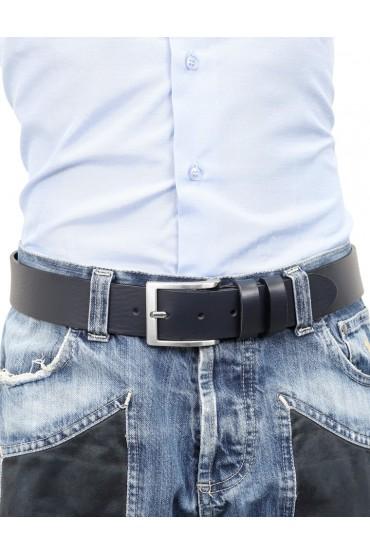 Cintura uomo in cuoio blu da 4 cm