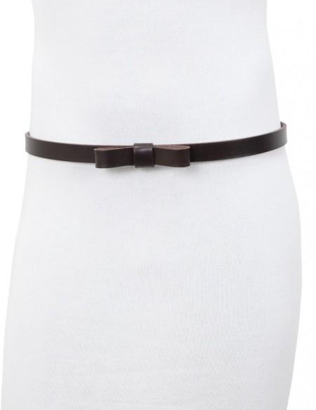 Cintura donna con fiocco in vero cuoio testa di moro