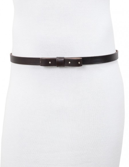 Cintura donna con fiocco forato in vero cuoio testa di moro