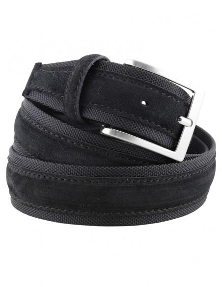 Cintura uomo tela e camoscio nera