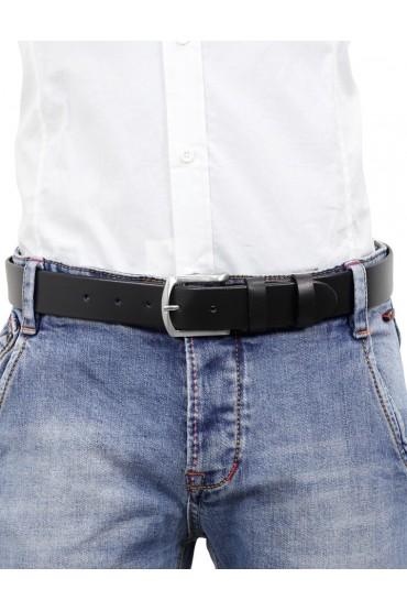 Cintura uomo in cuoio nero da 3,5 cm e bordo arrotondato