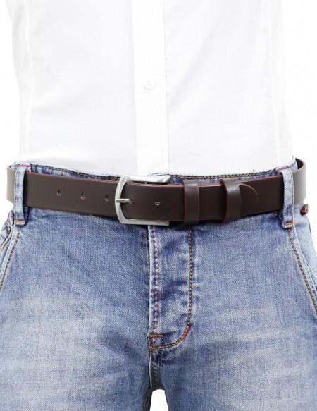 Cintura uomo in cuoio marrone da 3,5 cm e bordo arrotondato