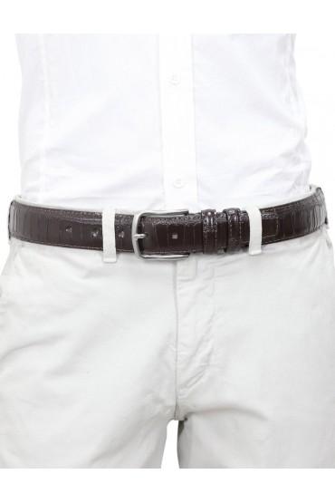 Cintura uomo in pelle di vitello stampa cocco marrone