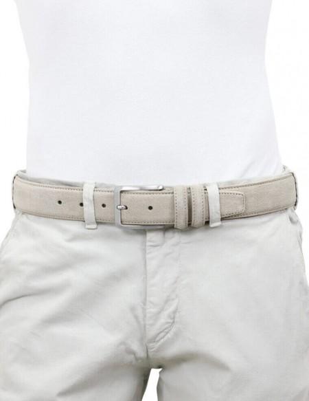 Cintura da uomo beige in camoscio artigianale