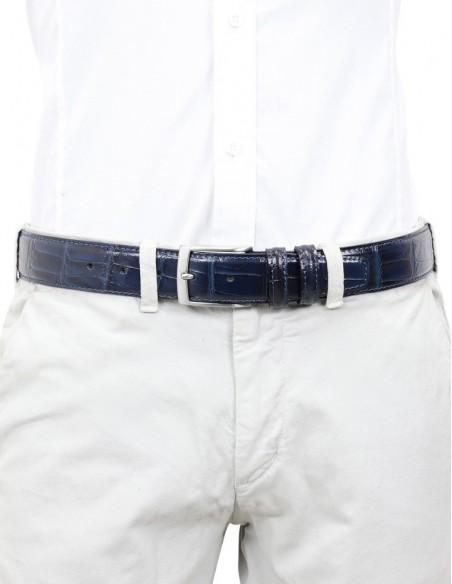 Cintura uomo in pelle di vitello stampa cocco blu
