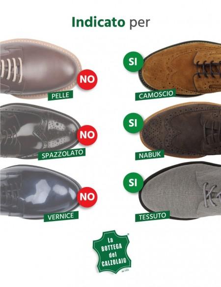 Camoscina verde per scarpe in camoscio nabuk e tela