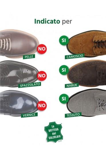 Camoscina marrone scuro per scarpe in camoscio nabuk e tela
