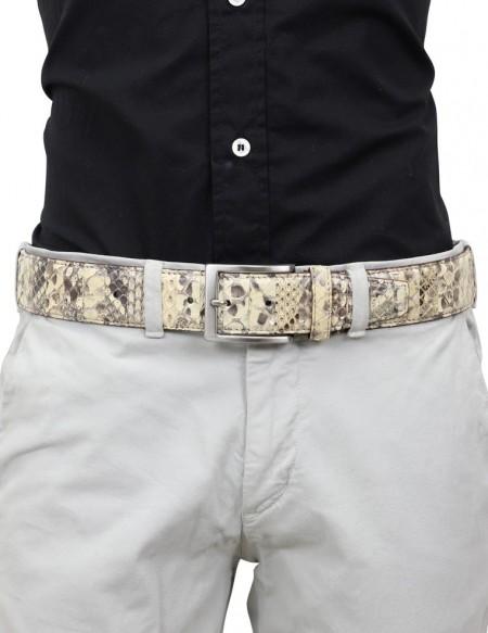 Cintura di pitone da uomo beige