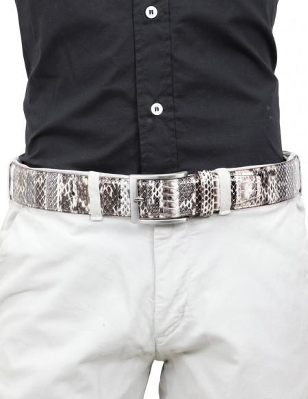 Cintura di pitone da uomo grigia