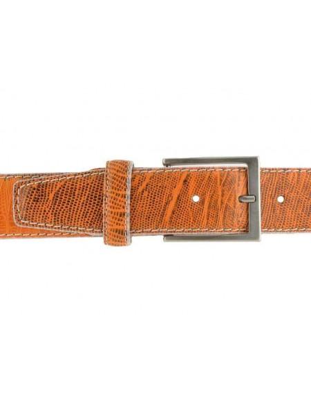 Cintura uomo donna pelle vitello stampa cocco arancio