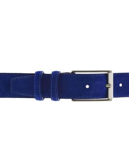 Cintura da uomo in camoscio blu elettrico artigianale