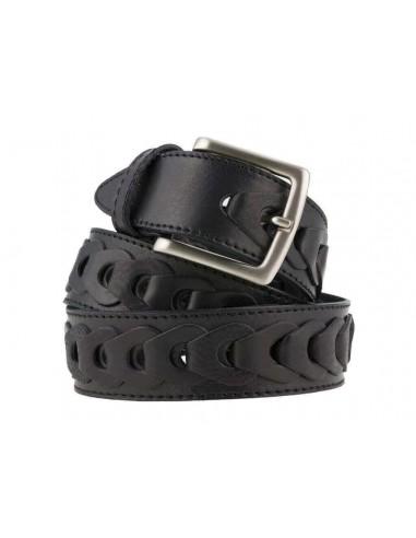 Cintura uomo in cuoio intrecciato anellato nera da 4 cm