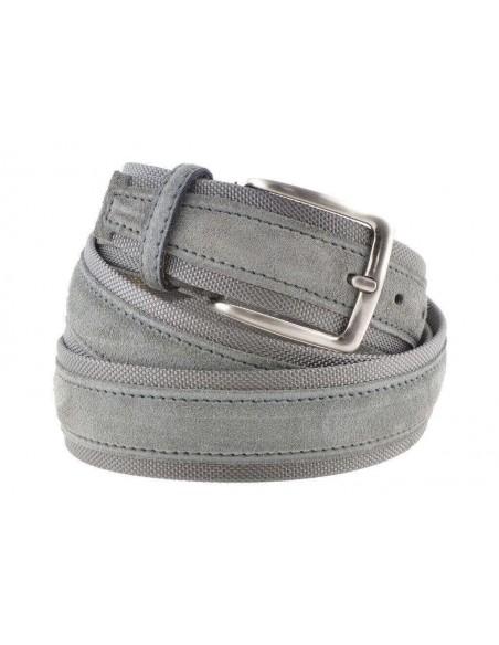 Cintura uomo tela e camoscio da 4 cm artigianale grigio chiaro e grigio chiaro