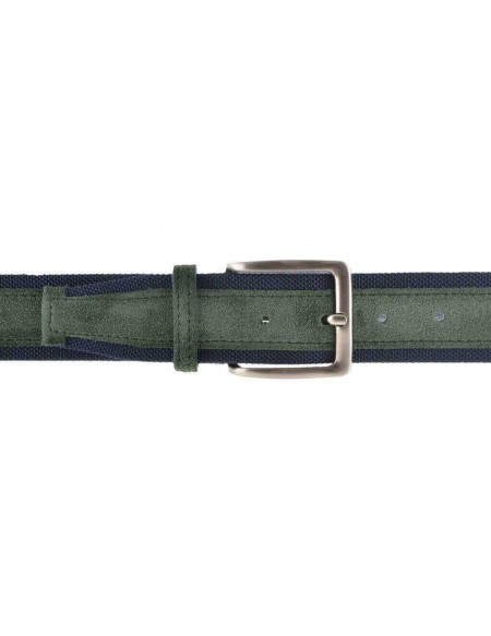Cintura uomo tela e camoscio da 4 cm artigianale verde e blu