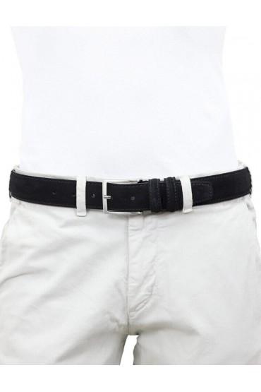 Cintura da uomo nera in camoscio artigianale