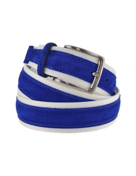 Cintura uomo tela e camoscio da 4 cm artigianale blu royal e bianco
