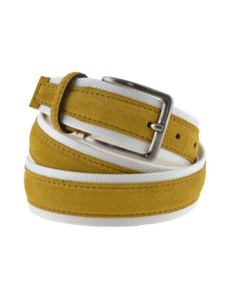 Cintura uomo tela e camoscio da 4 cm artigianale giallo e bianco
