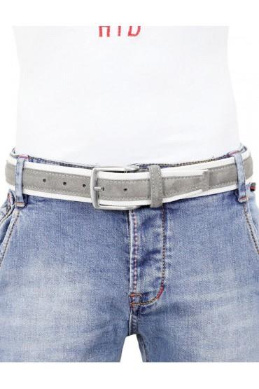 Cintura uomo tela e camoscio da 4 cm artigianale grigia e bianca
