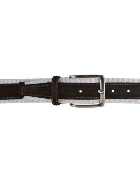 Cintura uomo tela e camoscio da 4 cm artigianale testa di moro e bianca