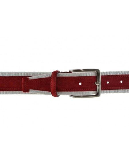 Cintura uomo tela e camoscio da 4 cm artigianale rossa e bianca
