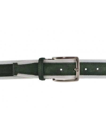 Cintura uomo tela e camoscio da 4 cm artigianale verde e bianca