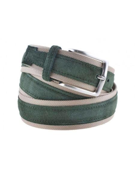Cintura uomo tela e camoscio da 4 cm artigianale verde e beige