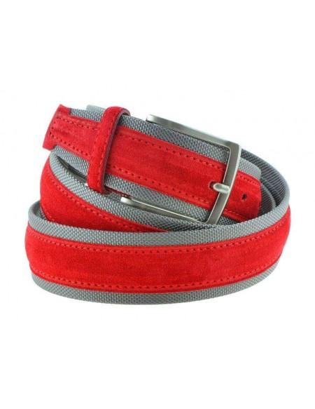 Cintura uomo tela e camoscio da 4 cm artigianale rossa e grigio chiaro