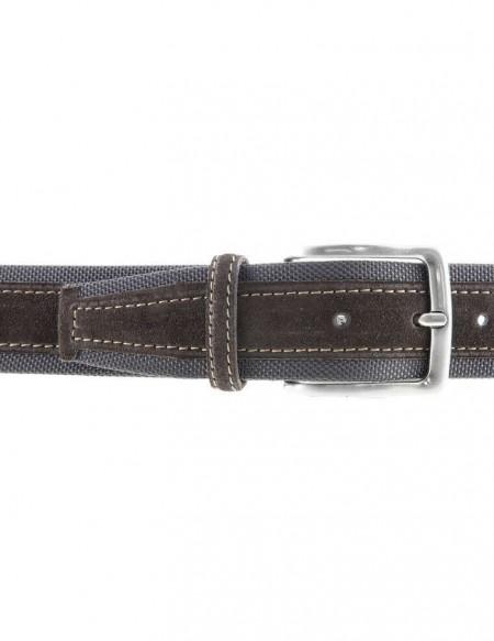 Cintura uomo tela e camoscio da 4 cm artigianale marrone e testa di moro