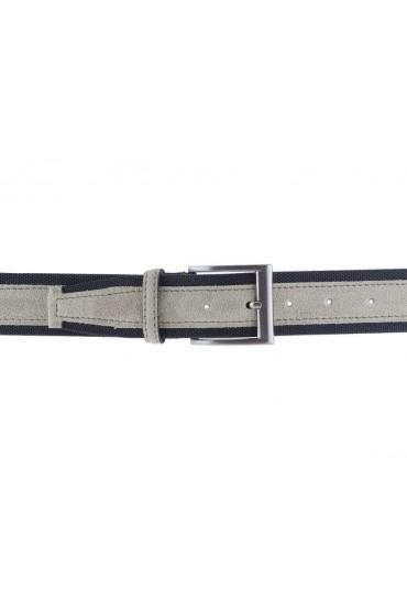 Cintura uomo tela e camoscio da 4 cm artigianale beige e testa di moro