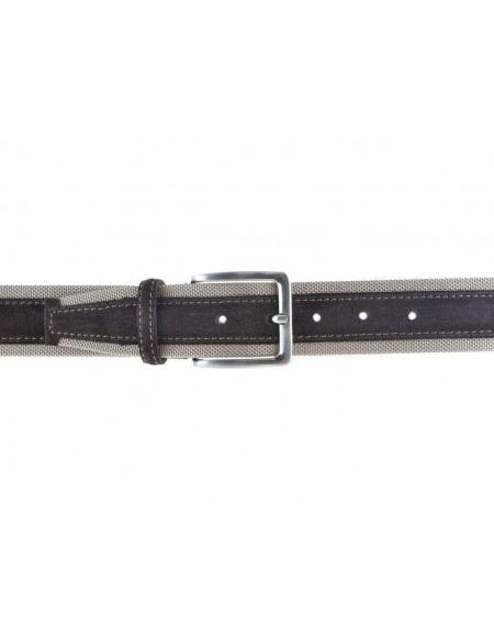 Cintura uomo tela e camoscio da 4 cm artigianale testa di moro e beige