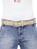 Cintura uomo tela e camoscio da 4 cm artigianale beige