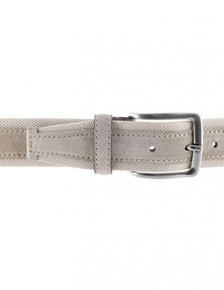 Cintura uomo tela e camoscio da 4 cm artigianale tortora e beige