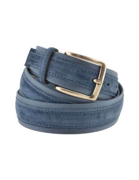 Cintura uomo tela e camoscio da 4 cm artigianale blu avion e blu