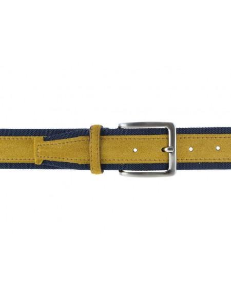Cintura uomo tela e camoscio da 4 cm artigianale giallo e blu