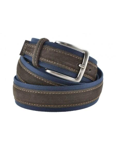 Cintura uomo tela e camoscio da 4 cm artigianale testa di moro e blu