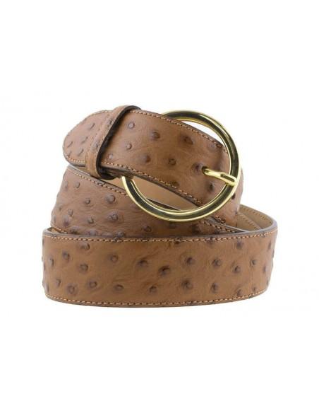 Cintura donna in pelle di struzzo marrone 3,5 cm