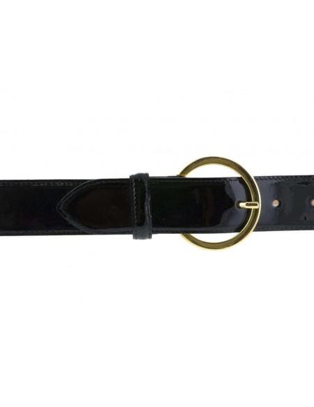 Cintura donna in pelle di vitello spazzolato nera 3,5 cm