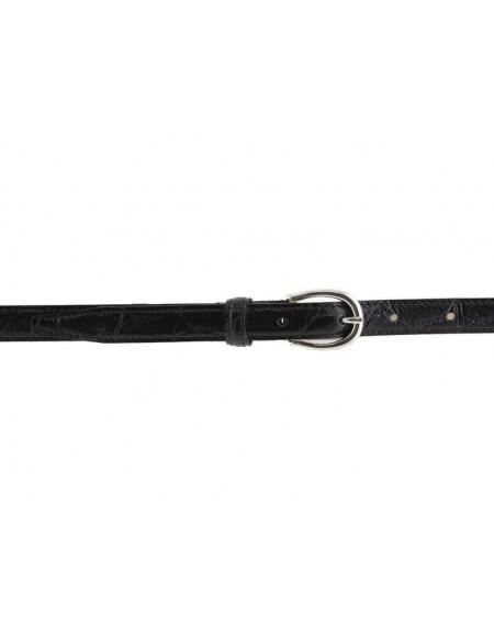 Cintura donna in pelle stampa coccodrillo nera