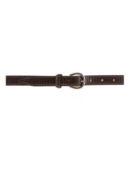 Cintura donna in pelle marrone stampa lucertola