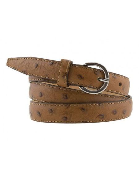 Cintura donna in pelle di struzzo marrone 2 cm