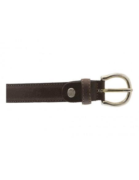 Cintura donna in pelle scamosciata marrone effetto vetrato