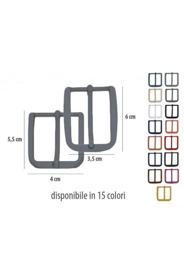 Fibbia anallergica nickel free gommata nera per cinture da 3,5 e 4 cm