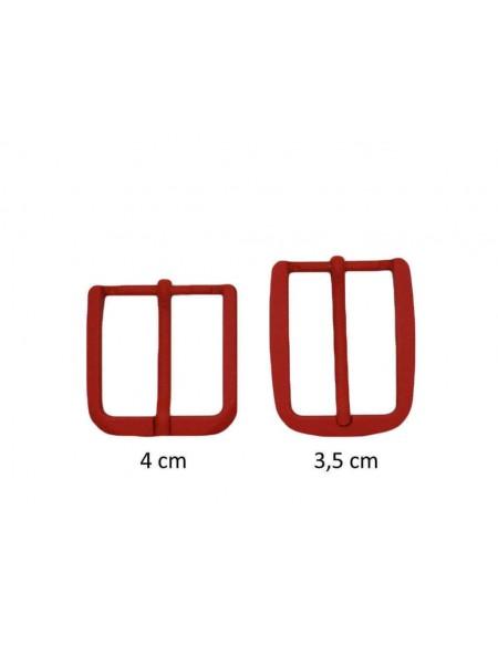 Fibbia anallergica nickel free gommata rossa per cinture da 3,5 e 4 cm
