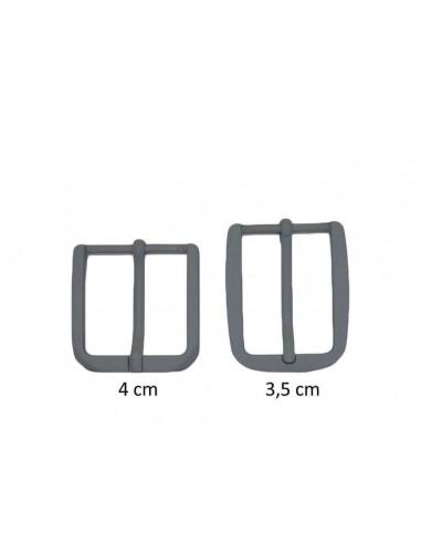 Fibbia anallergica nickel free gommata grigio chiaro per cinture da 3,5 e 4 cm