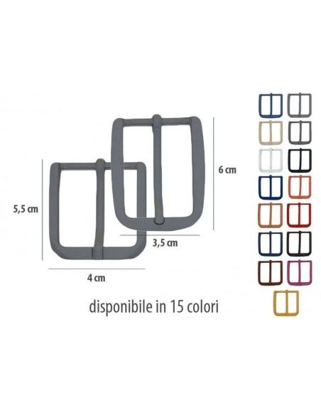 Fibbia anallergica nickel free gommata fucsia per cinture da 3,5 e 4 cm