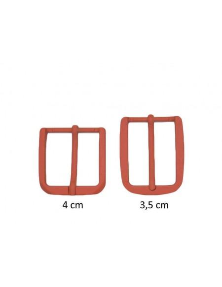 Fibbia anallergica nickel free gommata arancione per cinture da 3,5 e 4 cm